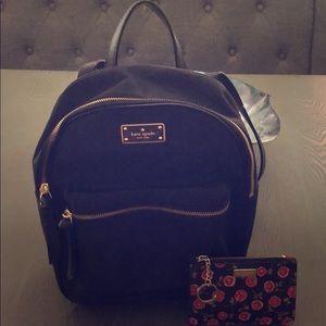 Black Kate Spade bookbag and wallet